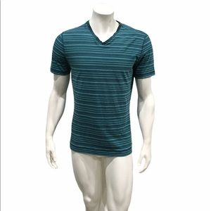 Lululemon Mens Blue Striped V Neck T Shirt
